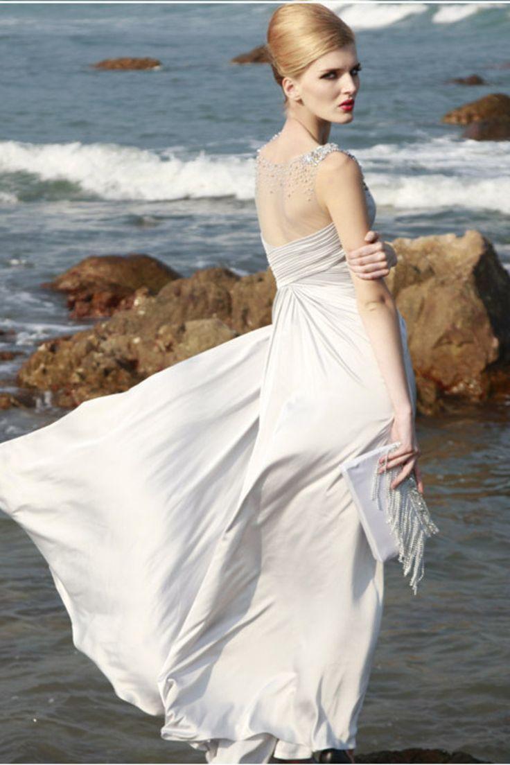 Свадьба - V-neck Chiffon Beading A-line Evening Dress