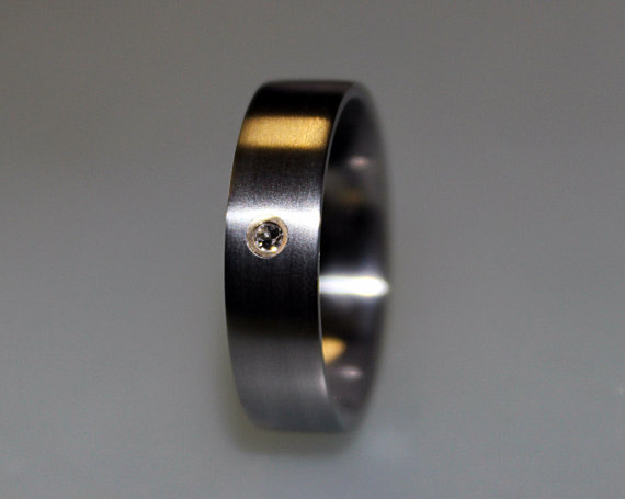 زفاف - Engagement Ring Titanium Ring, Swarovski Engagement Ring, Swarovski Crystal In Brass Bezel