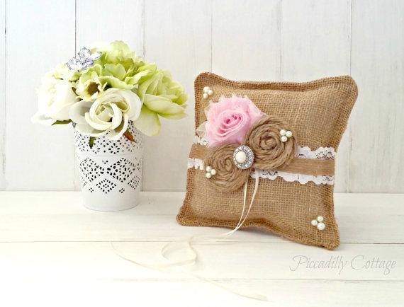 Wedding - Light Pink Burlap Ring Bearer Pillow / Wedding Pillow / Ring Bearer Pillows /  Rustic Wedding / Burlap Pillow