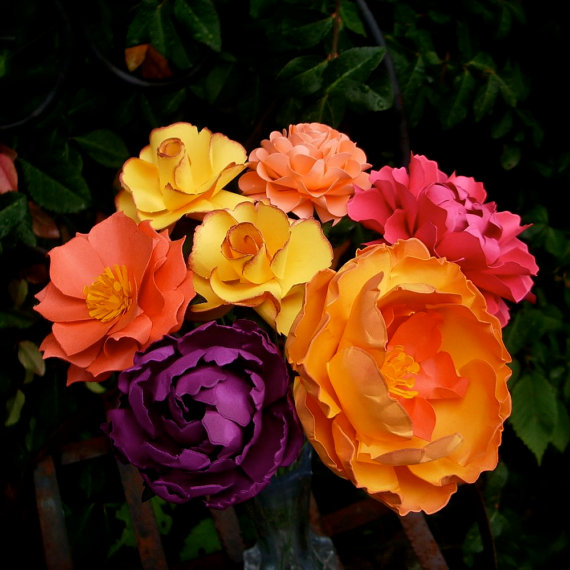 6173595d545 MIX Flowers - Handmade Paper Flowers -Set of 7 - On stems - Made to Order -  Customize your style and colors