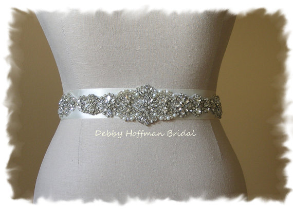 "Mariage - SALE ~ Crystal Pearl Bridal Sash, 15"" Jeweled Wedding Dress Belt, Vintage Style Pearl Bridal Belt. Pearl Wedding Sash, No. 4060S4066-1.5"