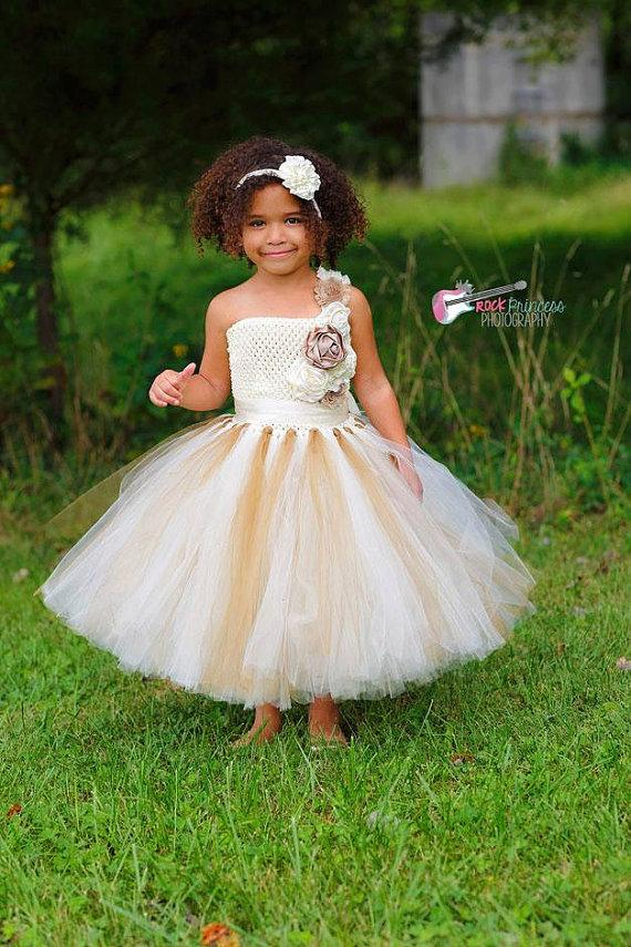 girls clothes dresses flower girl gold champagne