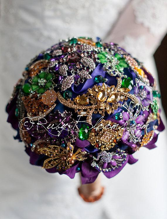 "Boda - Royal Purple Wedding Broach Bouquet. Deposit – ""Arabian Nights""  Royal Purple Blue, Green, Violet, Silver and Gold Bridal Broach Bouquet"