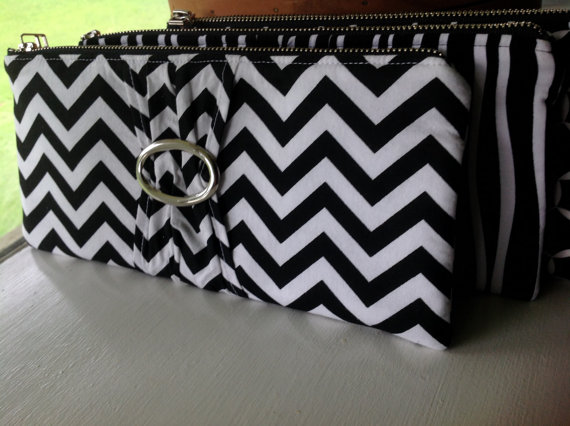 """Mariage - Black & White Clutch, Evening Bag, Wedding, Bridesmaids, Packages Available, Ad-Ons Available """"Black and White Chevron"""""""