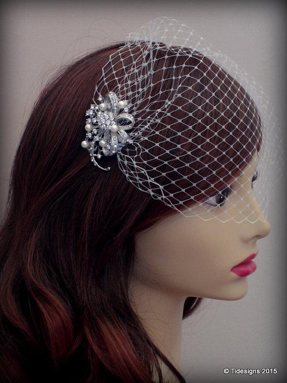 Mariage - Rhinestone Hair Comb with Ivory Birdcage Veil , Bandeau Birdcage Veil, Blusher Birdcage Vei, Gift Boxed