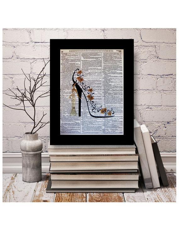 "Mariage - Shoe Art ""Golden Dreams"" Mixed Media Print,Size 8x10 A4 Vintage Dictionary Page Art, Dictionary art, High Heel, Shoe Art, Stiletto Art"