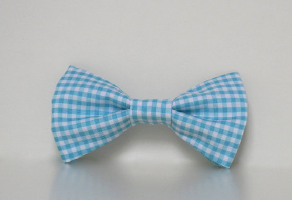 Свадьба - Aqua Blue Gingham Dog Bow Tie Wedding Accessories Easter Collar Made To Order
