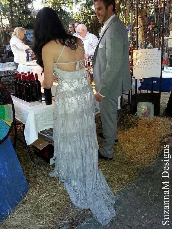 زفاف - Grey Lace Bohemian Wedding Dress Long Bridal Wedding Gown Bohemian Grey Wedding Dress - Handmade by SuzannaM Designs