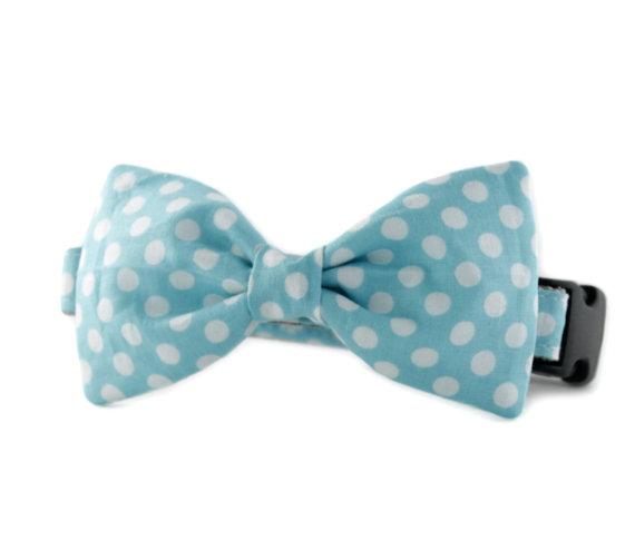 Свадьба - Light Blue Polka Dot Bow Tie - Light Blue Dot Bowtie for dogs, Ice Blue white dog bow tie collar accessory