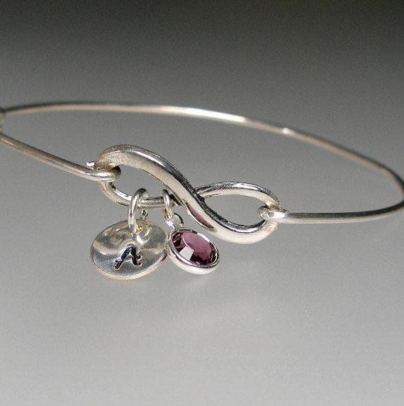 Свадьба - Infinity Birthstone Bangle Bracelet, Personalized Bracelet, Mothers Day Bracelet, Bridesmaid Jewelry, Birthstone Bracelet (202S..)