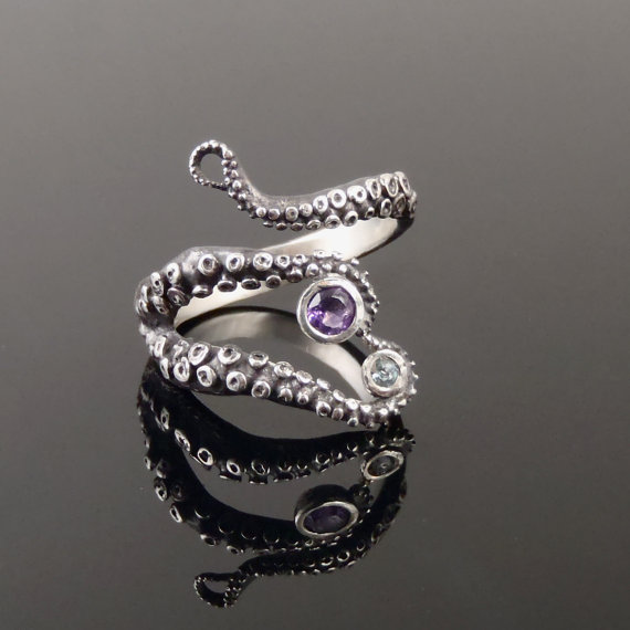 زفاف - Wicked tentacle ring amethyst and topaz, Wedding Band, Engagement Ring, Occasion