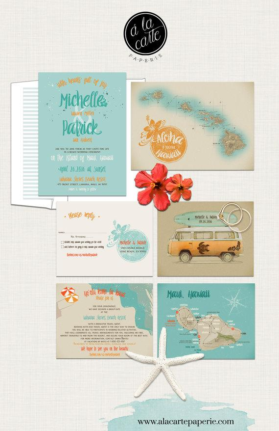 Hawaii Wedding Invitation Maui Wedding Retro Bus Surfboard Vintage