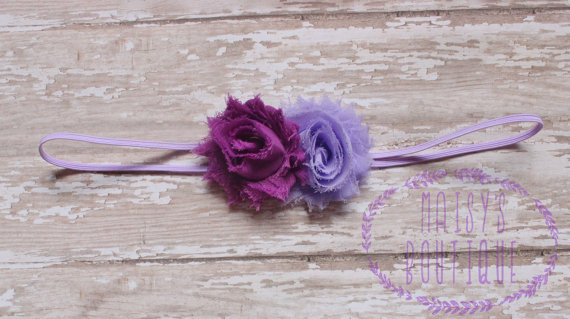 Mariage - Mini Purple Lavender Plum Flower Headband/ Shabby Flower Headband/ Newborn Headband/ Baby Headband/ Flower Girl/ Wedding/ Photo Prop