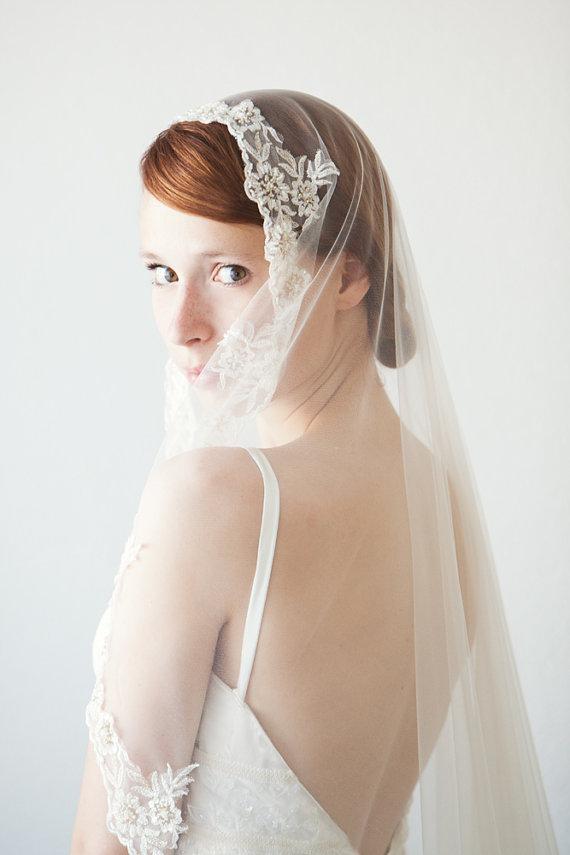 Mariage - Lace Bridal Veil, Mantilla Veil, Wedding Veil, Chapel Length, Lace Veil - Everlasting Love - Made to Order