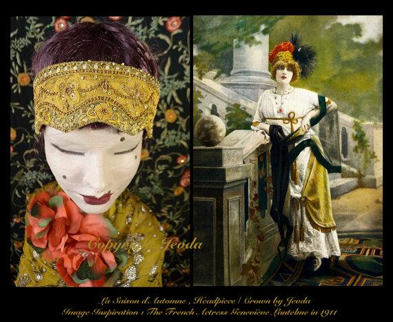 Свадьба - Flapper Headband,Beaded Headband,Burlesque Headband,Prom Headband,1920s Headband,Downton Abbey,1920s Headpiece,Roaring 20s Headband