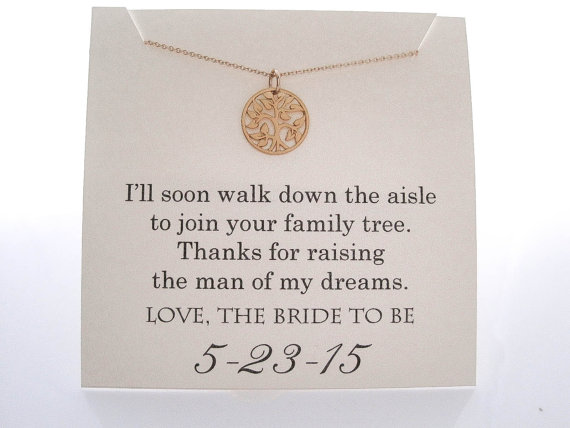 Wedding - Mother of The Groom Necklace - Mother of the Groom Gifts - Family Tree, Wedding Gifts,  Wedding Jewelry, Mother of the Groom Presents - Gold