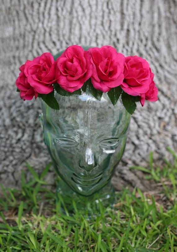 Mariage - Hot Pink Flower Crown Headband (Frida Kahlo Lana Del Rey Day of the Dead Mexican Wedding Bridal Coachella Bonnaroo Hipster Music Festival)