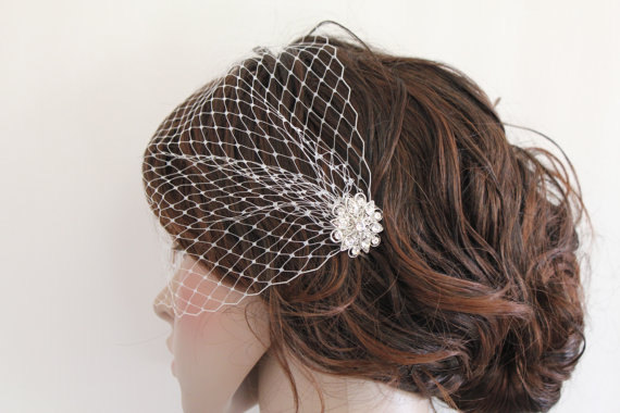 زفاف - Bridal Comb with veil, Wedding Birdcage Veil, Bird Cage Veil,Rhinestone Fascinator Comb,Wedding Birdcage Veil,Wedding headpiece