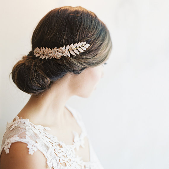Grecian Leaf Hair Piece Bridal Clip Wedding Headpiece Style Imogen 1937