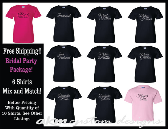 6 Bridal Bachelorette Party Shirts Package Lot Of Wedding Customized Personalized T Glitter Free Shipping