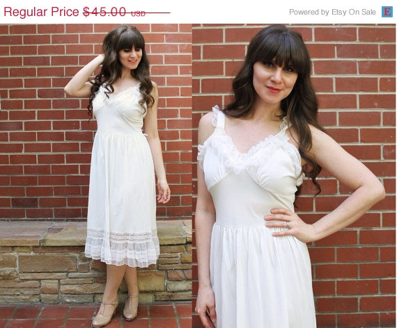Свадьба - ON SALE 1950s Nightgown / 50s White Bridal Nightie Lingerie