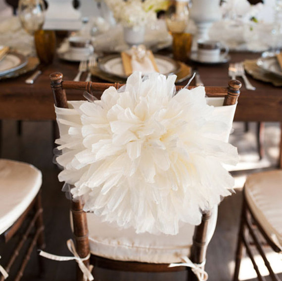 Peony Flower Wedding Chair Cover Chiavari Bride And Groom Quinceanera Decoration