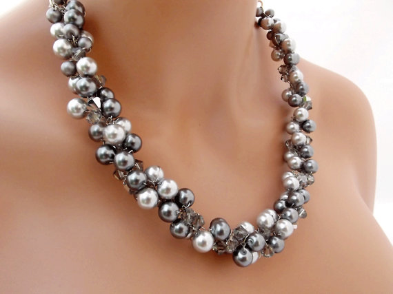 Свадьба - Grey Pearl Necklace, Chunky Wedding Necklace, Crystal and Pearl Necklace, Statement Necklace, Bridal Party