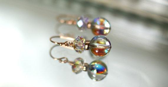 زفاف - Swarovski aurora borealis crystal dangle earrings, rose gold fill shepherd hook ear wires, bridal earrings, gift for her, wedding jewelry