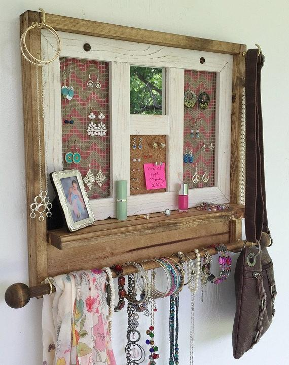 Rustic Jewelry Organizer Pink Chevron Mirrored Jewelry Organizer