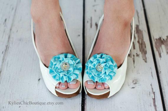 Boda - Aqua Shoe Clips - Wedding, Bridesmaid, Date Night, Party, Everyday wear