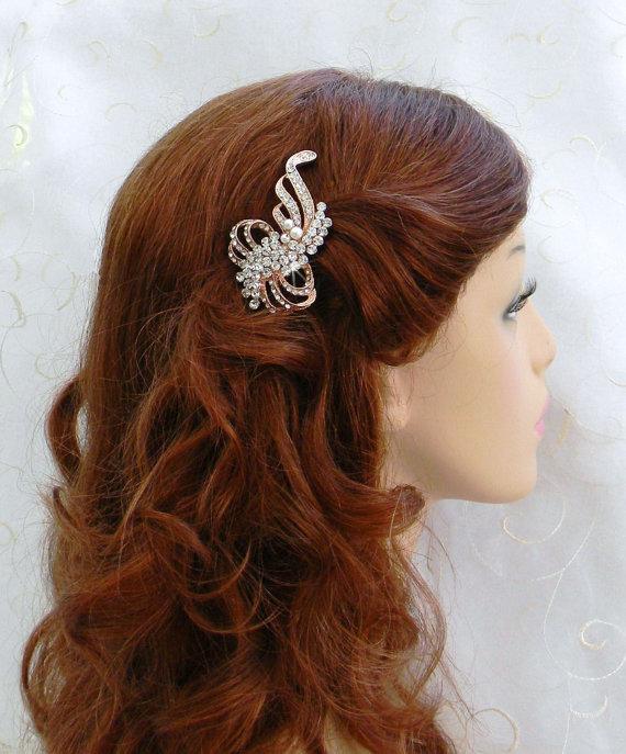 Mariage - Rose Gold Wedding Hair Comb, Bridal Hair comb, Swarovski crystal and pearl, rhinestone, Kristen Bridal Comb