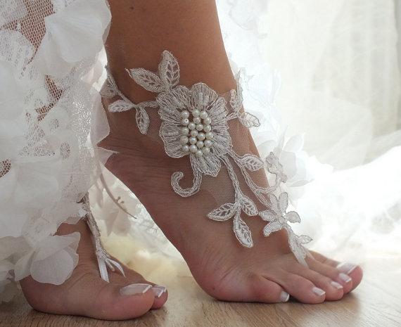 Ivory Beach Wedding Barefoot Sandals Fl Lace Bridal Pearl
