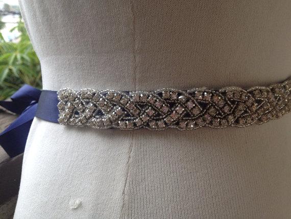 زفاف - 22 inch Rhinestone Bridal Sash,Beaded Bridal Sash,Wedding Belt Sash,Bridal Belt