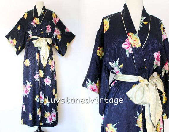 Wedding - Christian Dior Lingerie Kimono Dressing Bath Bridal Floral Jacquard Maxi Bridal Robe with Belt . D042 . SML . 943.1.20.15