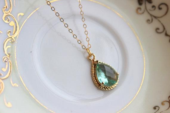 زفاف - Green Prasiolite Teardrop Necklace Gold - 14k Gold Filled Chain - Bridesmaid Necklace - Prasiolite Green Bridesmaid Jewelry Wedding Jewelry