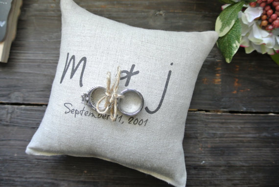 Personalized Ring Bearer Pillow Custom Holder Rustic Wedding Linen