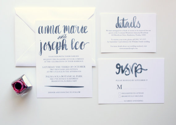 "Wedding - Hand Lettered Wedding Invitation Sample - The ""Gia"" Suite - Minimalist Modern Brush Script Watercolor Wedding Suite"