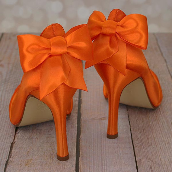 Hochzeit - Wedding Shoes -- Orange Peep Toe Wedding Shoes with Matching Bown on the Heel