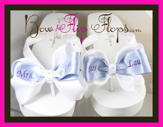 Свадьба - Bridal Flip Flops Wedding Flip Flops Ivory Wedge White Platform Satin Personalized Mrs Last Name Custom Bow Bridesmaid Gift