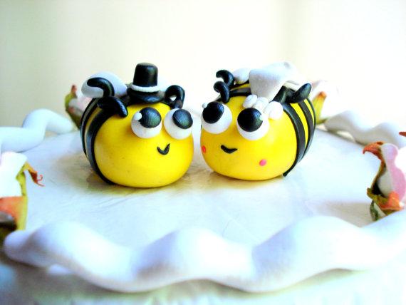 Bee Wedding Cake Topper Polymer Clay Blebee Customizable
