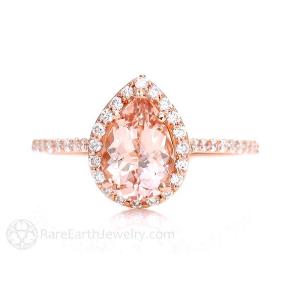 زفاف - Morganite Engagement Ring Morganite Ring Rose Gold Pear Diamond Halo 14K or 18K Gold Unique Engagement