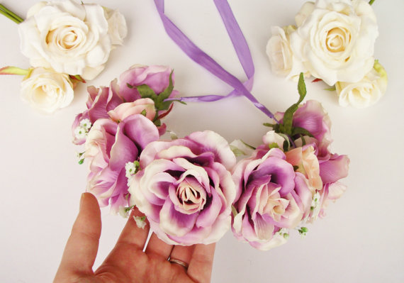 Wedding - Purple Lilac Peach Pink White Rose Floral Crown - Floral Headband, Flower Crown, Floral Wreath, Wedding, Bridal, Festival, Rose Crown