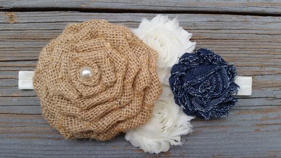 Свадьба - Chambray Headband-Denim Headband-Shabby Chic Headband-Country Flower Girl Headband-Rustic Headband-Burlap Headband-Rustic Flower Girl