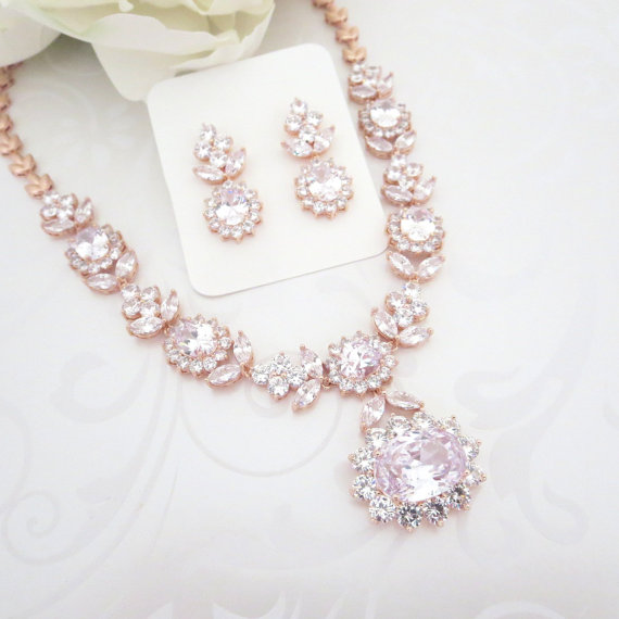 Rose Gold Statement Necklace Rose Gold Bridal Necklace Set Wedding Jewelry Set Crystal