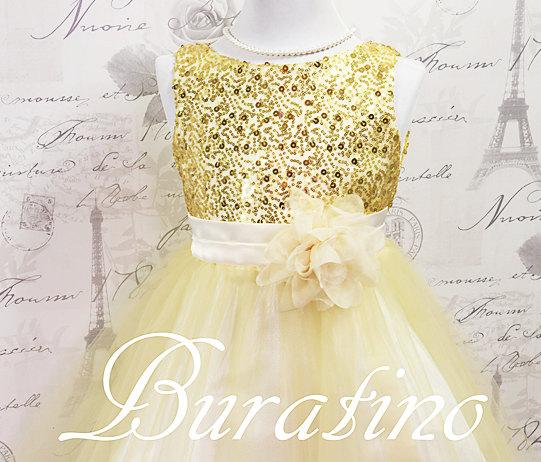 Mariage - Flower Girl Sequin Dress, Flower Girl Dresses in Many colors Communion White dress, (ets0155gld)