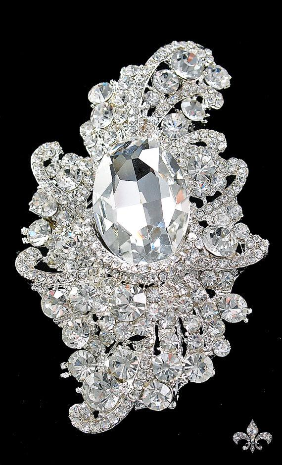 Свадьба - Rhinestone Brooch Pin - Large Rhinestone Crystal Brooch - Rhinestone Brooch - Large Brooch - Divine Brooch