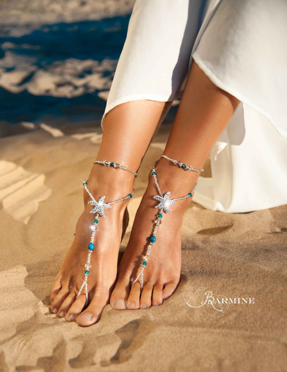 61a8dbba4ccde Beach wedding barefoot sandals-Bridal foot jewelry-Rhinestone starfish barefoot  sandals-Barefoot Sandals-Bridal shoes-Footless sandals-Blue