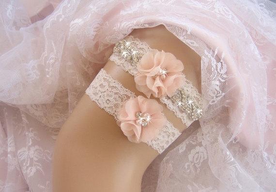 Hochzeit - Vintage Bridal Garter, Wedding Garter Set, Lace Garter, Toss Garter included Ivory with Rhinestones and Pearls Custom Wedding colors