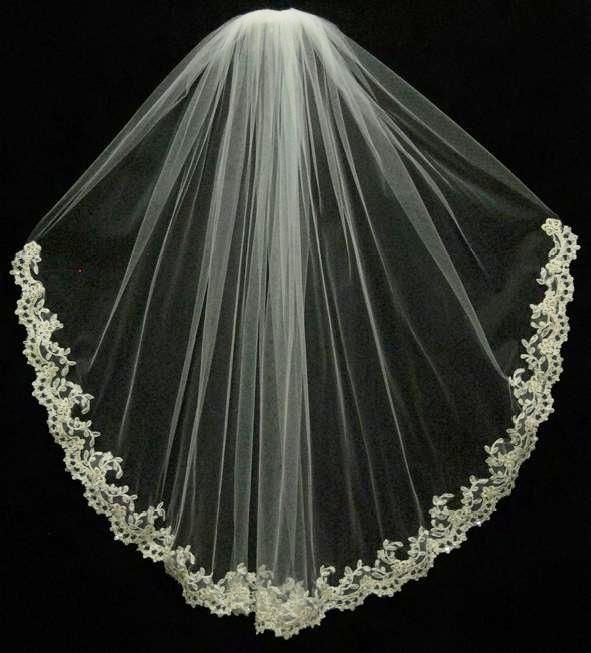 Hochzeit - Ansonia Bridal 200S Beaded Lace Edge Fingertip Wedding Veil
