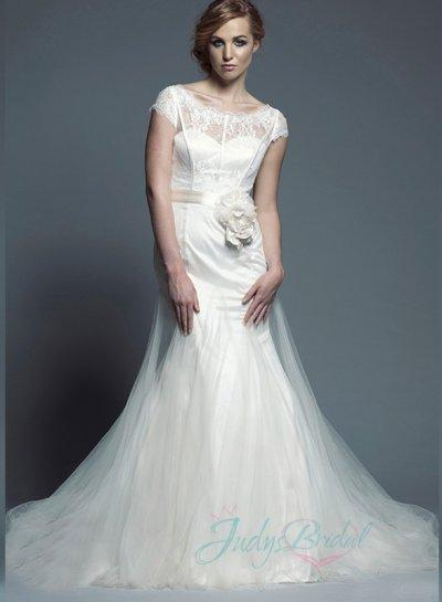 Wedding - JW16065 Illusion lace scoop neck flare tulle mermaid wedding dress